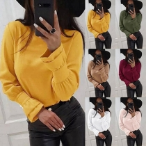 OL Style Long Sleeve Round Neck Solid Color Blouse