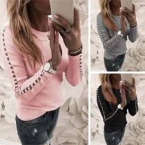 Fashion Beaded Long Sleeve Round Neck SLim Fit Top