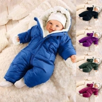 Fashion Solid Color Long Sleeve Plush Lining Hooded Jumpsuit for Babies