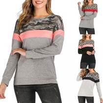 Fashion Contrast Color Long Sleeve Leopard Printed Spliced Sweatshirt