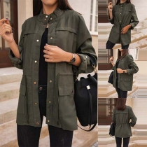 Chic Style Long Sleeve Stand Collar Drawstring Waist Windbreaker