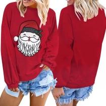 Cute Santa Claus Printed Long Sleeve Round Neck Sweatshirt