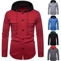 Fashion Contrast Color Long Sleeve Hooded Man's Top