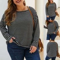 Fashion Long Sleeve Round Neck Plus-size Striped T-shirt