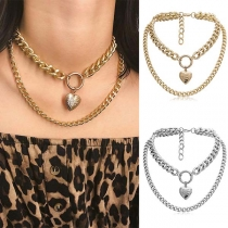 Fashion Heart Pendant Double-layer Necklace