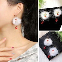 Cute Crystal Pendant Hairball Earrings