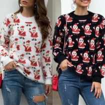 Cute Snowman Printed Long Sleeve Round Neck Sweater