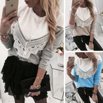 Fashion Contrast Color Long Sleeve Round Neck Lace Spliced T-shirt