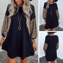 Fashion Leopard Spliced Long Sleeve Round Neck Loose Dress(It runs big)