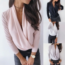 Sexy Deep V-neck Long Sleeve Solid Color Top