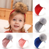 Fashion Hairball Spliced Turban for Kids