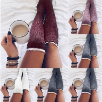 Fashion Lace Spliced Solid Color Knit Over-the-knee Knit Socks