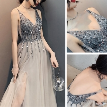 Sexy V-neck Beaded Sequin Evening Dress Long Party Dress