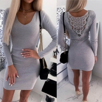Sexy Hollow Out Lace Spliced Long Sleeve Round Neck Slim Fit Dress