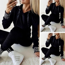 Fashion Rhinestone Spliced Long Sleeve Hooded Sweatshirt + Pants Two-piece Set
