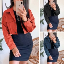 Fashion Solid Color Long Sleeve POLO Collar Short-style Jacket Blazer