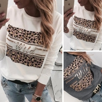Fashion Rhinestone Spliced Leopard Printed Round Neck Sweatshirt