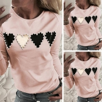 Fashion Long Sleeve Round Neck Heart Pattern Bead Sweatshirt