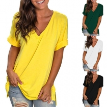 Simple Style Short Sleeve V-neck Solid Color Loose T-shirt