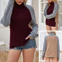 Fashion Contrast Color Long Sleeve Turtleneck Sweater
