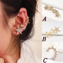 Fashion Rhinestone Inlaid Star Shaped Single Stud Earring