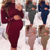 Fashion Solid Color Long Sleeve Round Neck Slim Fit Maternity Dress
