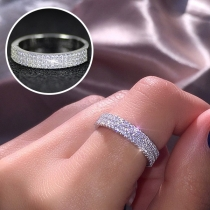 Fashion Rhinestone Inlaid Alloy Ring
