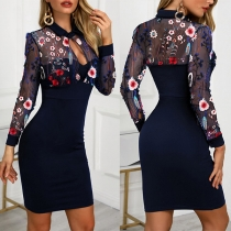 Sexy Gauze Spliced Long Sleeve POLO Collar Slim Fit Embroidered Dress