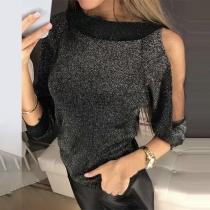 Sexy Off-shoulder Dolman Sleeve Round Neck Knit Top