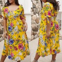 Bohemian Style Short Sleeve V-neck Plus-size Printed Dress