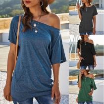 Sexy Oblique Shoulder Short Sleeve Solid Color T-shirt
