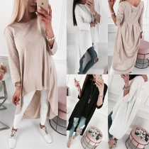 Chic Style Long Sleeve Round Neck High-low Hem Solid Color T-shirt