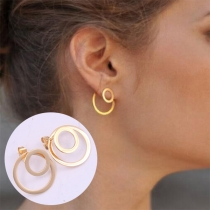 Chic Style Gold-tone Circle Shaped Stud Earrings