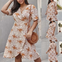 Fashion Short Sleeve V-neck Irregular Hem Printed Dress