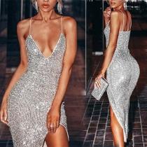 Sexy Backless V-neck Slit Hem Slim Fit Sling Sequin Dress