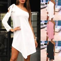 Sexy One-shoulder Long Sleeve Irregular Hem Solid Color Dress