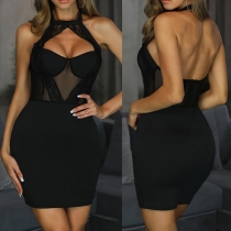 Sexy Backless Hollow Out Lace Spliced Slim Fit Halter Dress