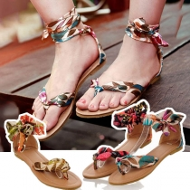Bohemian Style Flat Heel Lace-up Printed Sandals
