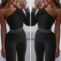 Sexy One-shoulder Long Sleeve High Waist Beaded Jumpsuit