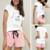 Cute Cartoon Printed Short Sleeve T-shirt + Shorts Two-piece Set