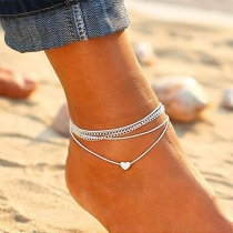 Bohemian Style Heart Pendant Multi-layer Anklet