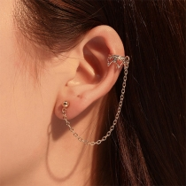 Fashion Rhinestone Inlaid Crown Tassel Earrings