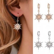 Fashion Rhinestone Inlaid Sunflower Pendant Earrings