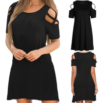 Sexy Off-shoulder Short Sleeve Round Neck Solid Color Dress