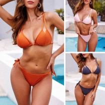 Sexy Backless Low-waist Solid Color Lace-up Bikini Set