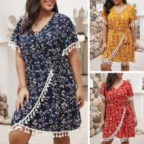 Fashion Short Sleeve V-neck Tassel Spliced Printed Dress