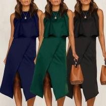 Sexy Backless Sleeveless Crop Top + High Waist Slit Hem Skirt Two-piece Set