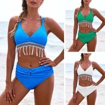 Sexy High Waist Tassel Bikini Set