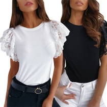 Fashion Lace Spliced Short Sleeve Round Neck Solid Color Top