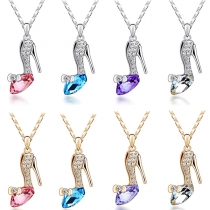 Fashion Rhinestone Inlaid Crystal Shoe Pendant Necklace